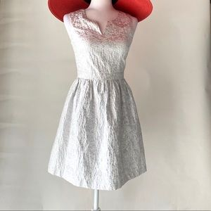 Kenzie silver and white fit and flare dress